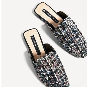 NWOT Zara Tweed Mules Slip On Sandals